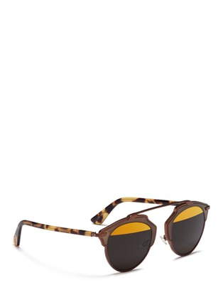 Figure View - Click To Enlarge - Dior - 'Dior So Real' tortoiseshell temple inset metallic stripe sunglasses