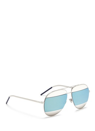 Figure View - Click To Enlarge - DIOR - 'Dior Split' inset metal aviator mirror sunglasses