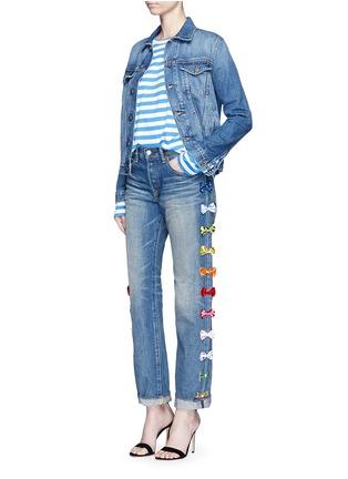 Figure View - Click To Enlarge - Tu Es Mon Trésor - Velvet bow appliqué selvedge jeans