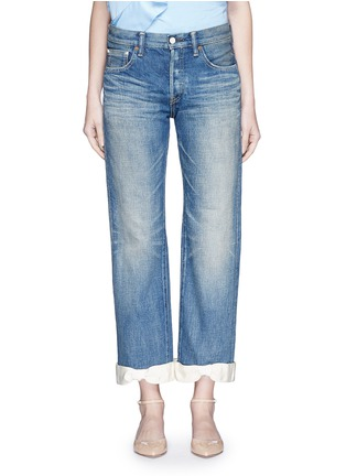 Detail View - Click To Enlarge - 73115 - Petersham ribbon bow cuff selvedge jeans