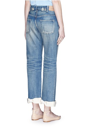 Back View - Click To Enlarge - 73115 - Petersham ribbon bow cuff selvedge jeans