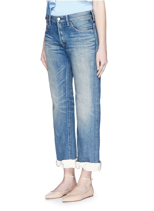 Front View - Click To Enlarge - 73115 - Petersham ribbon bow cuff selvedge jeans
