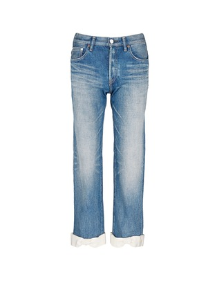 Main View - Click To Enlarge - 73115 - Petersham ribbon bow cuff selvedge jeans