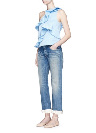 Figure View - Click To Enlarge - 73115 - Petersham ribbon bow cuff selvedge jeans