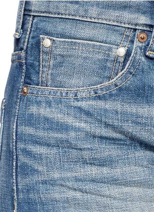 Detail View - Click To Enlarge - Tu Es Mon Trésor - Faux pearl embellished selvedge jeans