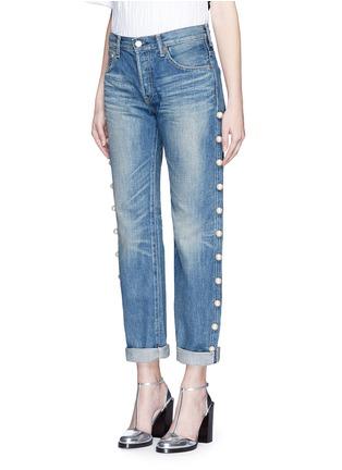 Front View - Click To Enlarge - Tu Es Mon Trésor - Faux pearl embellished selvedge jeans