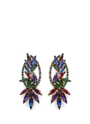 Main View - Click To Enlarge - Erickson Beamon - 'Hyperdrive' Swarovski crystal oval leaf earrings