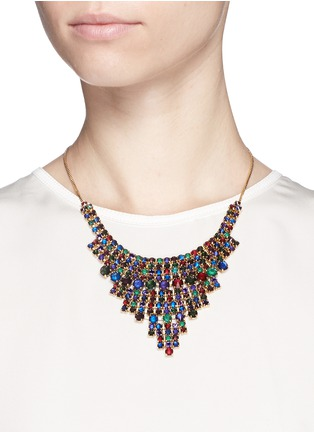 Figure View - Click To Enlarge - Erickson Beamon - 'Hyperdrive' Swarovski crystal tiered drop necklace
