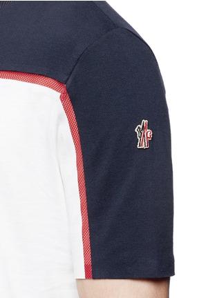 Detail View - Click To Enlarge - Moncler Grenoble - Cotton piqué mesh colourblock T-shirt
