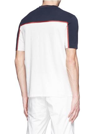 Back View - Click To Enlarge - Moncler Grenoble - Cotton piqué mesh colourblock T-shirt