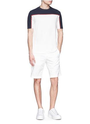 Figure View - Click To Enlarge - Moncler Grenoble - Cotton piqué mesh colourblock T-shirt
