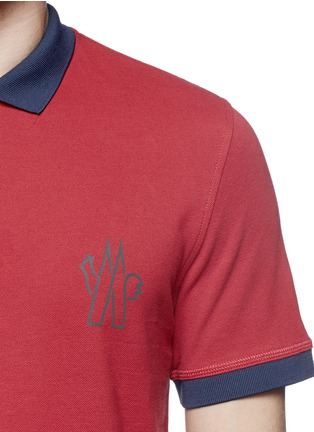 Detail View - Click To Enlarge - Moncler Grenoble - Contrast collar cotton polo shirt