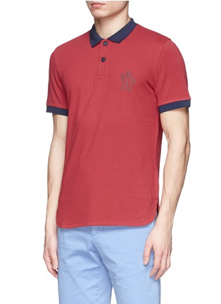 Front View - Click To Enlarge - Moncler Grenoble - Contrast collar cotton polo shirt