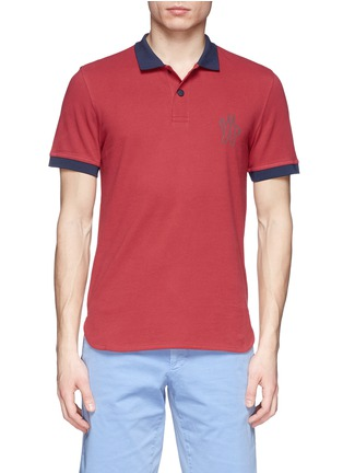 Main View - Click To Enlarge - Moncler Grenoble - Contrast collar cotton polo shirt
