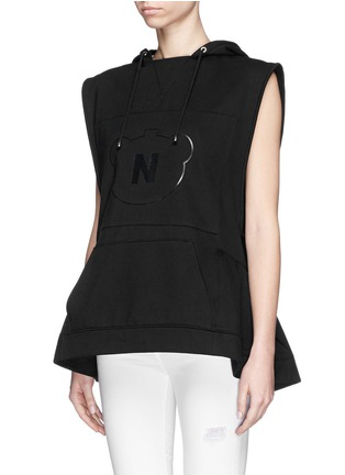Front View - Click To Enlarge - NICOPANDA - Panda logo flare hem sleeveless hoodie
