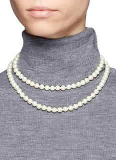 Kenneth Jay Lane Glass pearl long strand necklace
