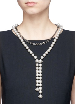 Figure View - Click To Enlarge - Lanvin - Glass pearl tier chain necklace