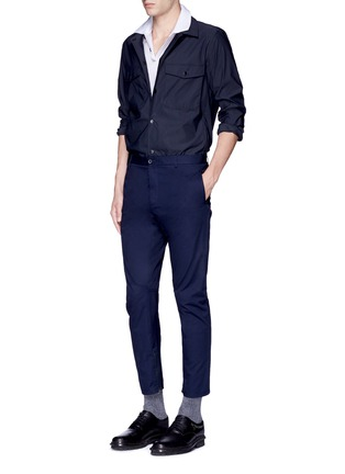 Figure View - Click To Enlarge - LANVIN - Slim fit reverse seam polo shirt