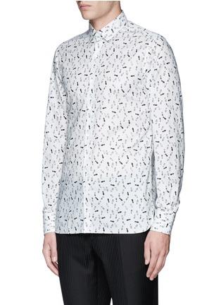 Front View - Click To Enlarge - Lanvin - 'Evolutive' slim fit footsteps print shirt