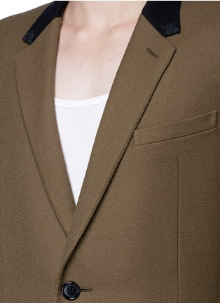 Detail View - Click To Enlarge - LANVIN - Slim fit contrast collar wool coat