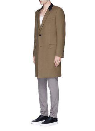 Front View - Click To Enlarge - LANVIN - Slim fit contrast collar wool coat
