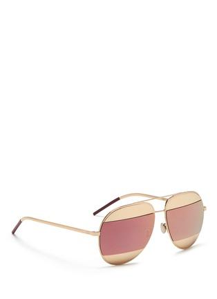 Figure View - Click To Enlarge - DIOR - 'Dior Split' inset metal aviator mirror sunglasses
