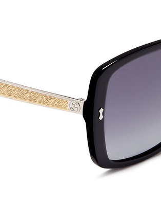 Detail View - Click To Enlarge - Gucci - Logo temple acetate oversize square sunglasses