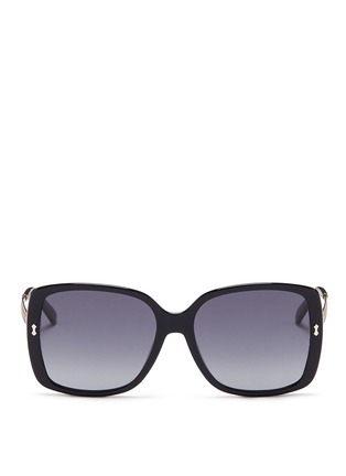 Main View - Click To Enlarge - Gucci - Logo temple acetate oversize square sunglasses