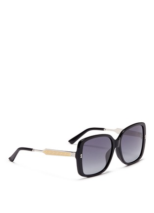 Figure View - Click To Enlarge - Gucci - Logo temple acetate oversize square sunglasses