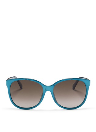 Main View - Click To Enlarge - Gucci - Logo wire core pearlescent acetate sunglasses