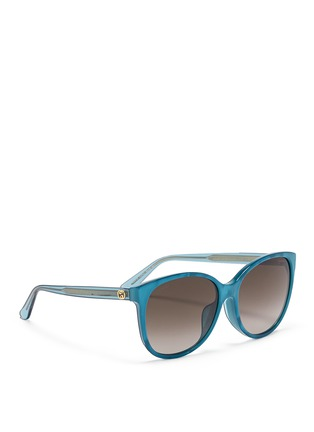 Figure View - Click To Enlarge - Gucci - Logo wire core pearlescent acetate sunglasses