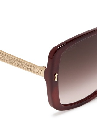 Detail View - Click To Enlarge - Gucci - Logo temple pearlescent acetate oversize square sunglasses