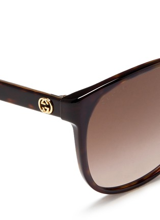 Detail View - Click To Enlarge - Gucci - Logo wire core tortoiseshell acetate sunglasses