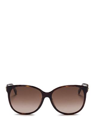 Main View - Click To Enlarge - Gucci - Logo wire core tortoiseshell acetate sunglasses