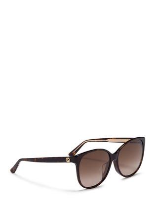 Figure View - Click To Enlarge - Gucci - Logo wire core tortoiseshell acetate sunglasses
