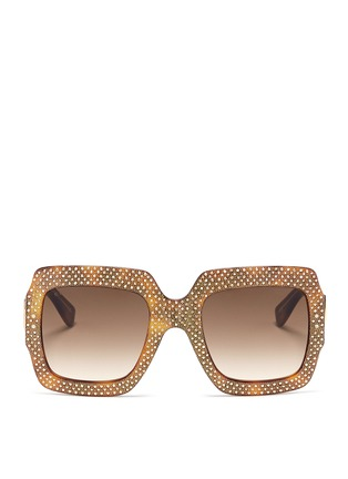 Main View - Click To Enlarge - GUCCI - Rhinestone pavé tortoiseshell acetate oversize square sunglasses