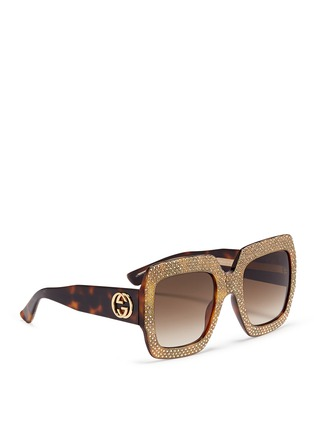 Figure View - Click To Enlarge - GUCCI - Rhinestone pavé tortoiseshell acetate oversize square sunglasses