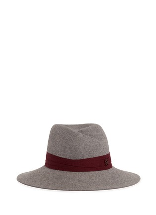 Main View - Click To Enlarge - Maison Michel - 'Virginie' logo herringbone band rabbit furfelt hat