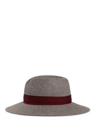 Figure View - Click To Enlarge - Maison Michel - 'Virginie' logo herringbone band rabbit furfelt hat