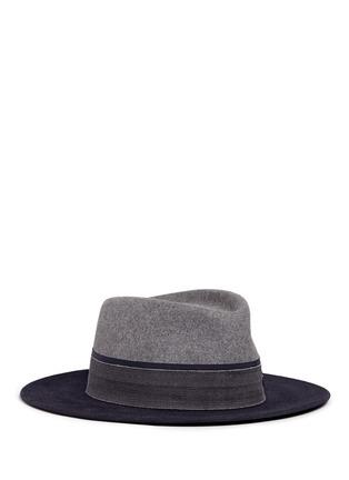 Main View - Click To Enlarge - MAISON MICHEL - 'Thadee' colourblock rabbit furfelt fedora hat