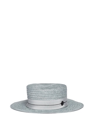 Main View - Click To Enlarge - MAISON MICHEL - 'Kiki' petersham band canapa straw boater hat