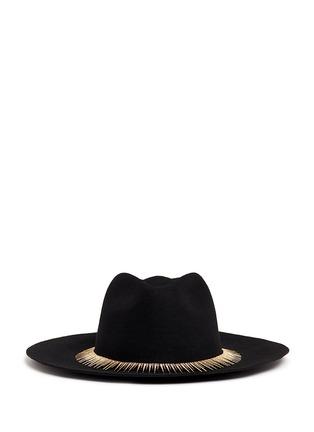 Main View - Click To Enlarge - Venna - Zircon pavé spike fringe felt fedora hat