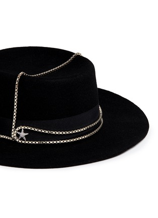 Detail View - Click To Enlarge - Venna - Embellished star chain wool felt boater hat