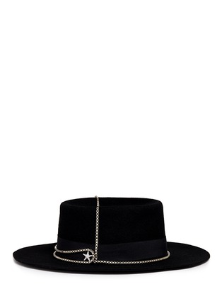 Figure View - Click To Enlarge - Venna - Embellished star chain wool felt boater hat