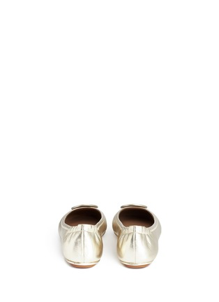 Back View - Click To Enlarge - Tory Burch - 'Minnie Travel' metallic leather ballet flats