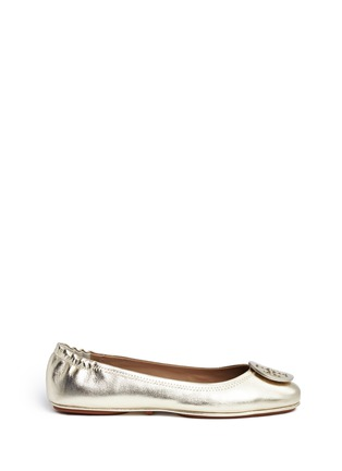 Main View - Click To Enlarge - Tory Burch - 'Minnie Travel' metallic leather ballet flats
