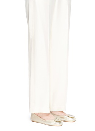 Figure View - Click To Enlarge - Tory Burch - 'Minnie Travel' metallic leather ballet flats