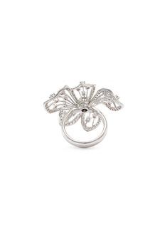Lazare Kaplan Diamond 18k white gold openwork flower ring
