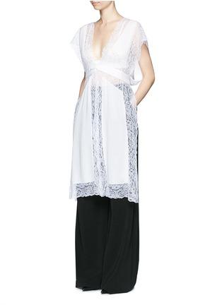 Figure View - Click To Enlarge - Givenchy - Silk crepe de Chine panel lace dress vest