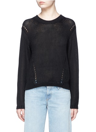 Main View - Click To Enlarge - Acne Studios - 'Phora Chunky' open weave stripe linen sweater